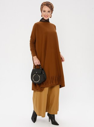 Tan - Crew neck - Acrylic -  - Knit Tunics