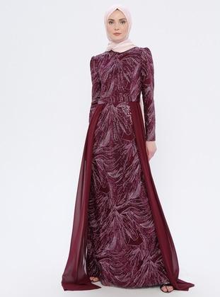 Purple - Plum - Crew neck - Fully Lined - Dress