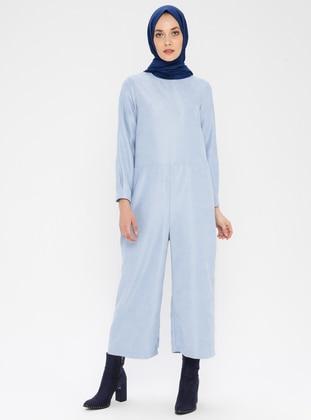 Blue - Unlined - Crew neck - Jumpsuit