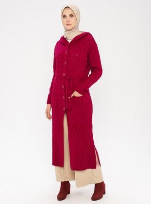 Maroon - Acrylic -  - Wool Blend - Cardigan