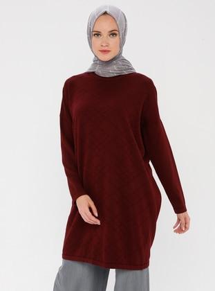 Maroon - Crew neck - Acrylic -  - Knit Tunics