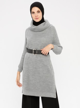 Gray - Polo neck - Acrylic -  - Wool Blend - Jumper