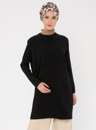 Black - Crew neck - Acrylic -  - Knit Tunics