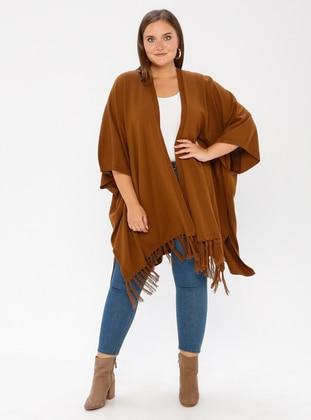 Tan - Acrylic - Plus Size Cardigan