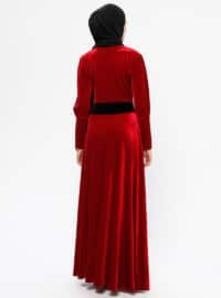 Red - Unlined - Crew neck - Rayon - Muslim Evening Dress