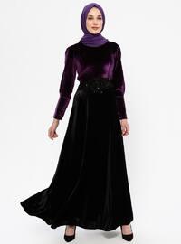 Plum - Black - Unlined - Crew neck - Rayon - Muslim Evening Dress