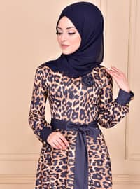 Indigo - Leopard - Crew neck - Unlined - Dress