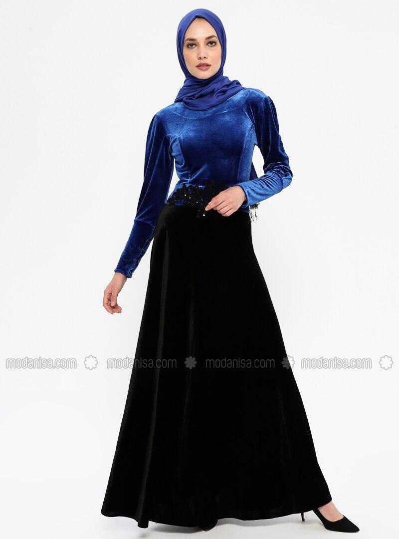 Saxe - Black - Unlined - Crew neck - Rayon - Muslim Evening Dress