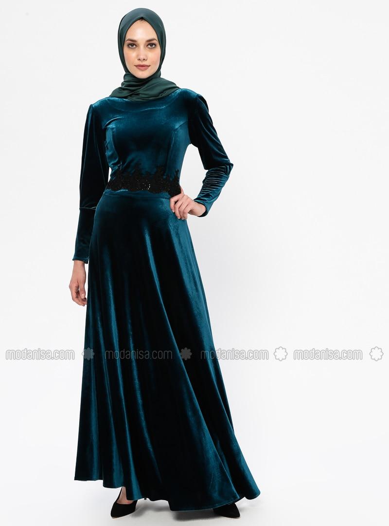 Green - Unlined - Crew neck - Rayon - Muslim Evening Dress
