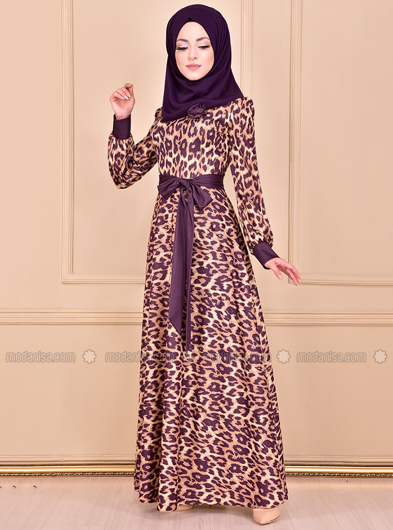 Purple - Leopard - Crew neck - Unlined - Dress