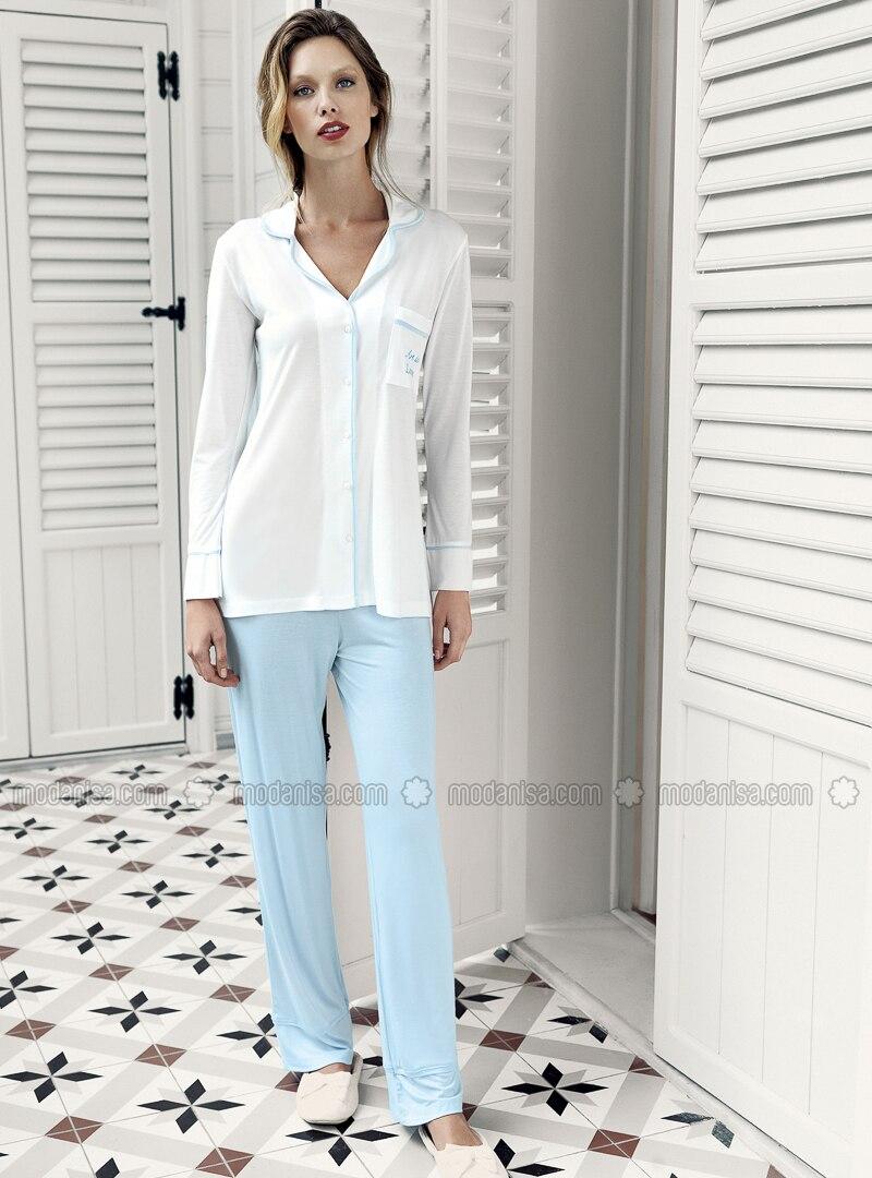 Blue - Crew neck -  - Viscose - Pyjama