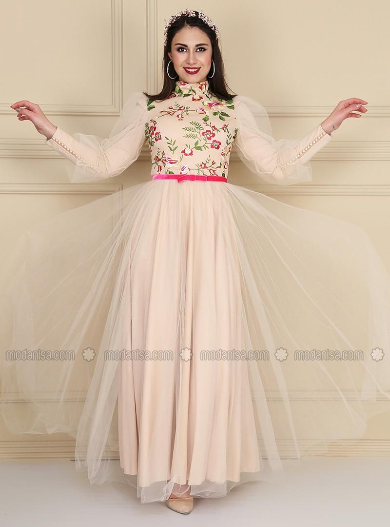 Prenses Kol Nakisli Abiye Elbise Ten Fusya
