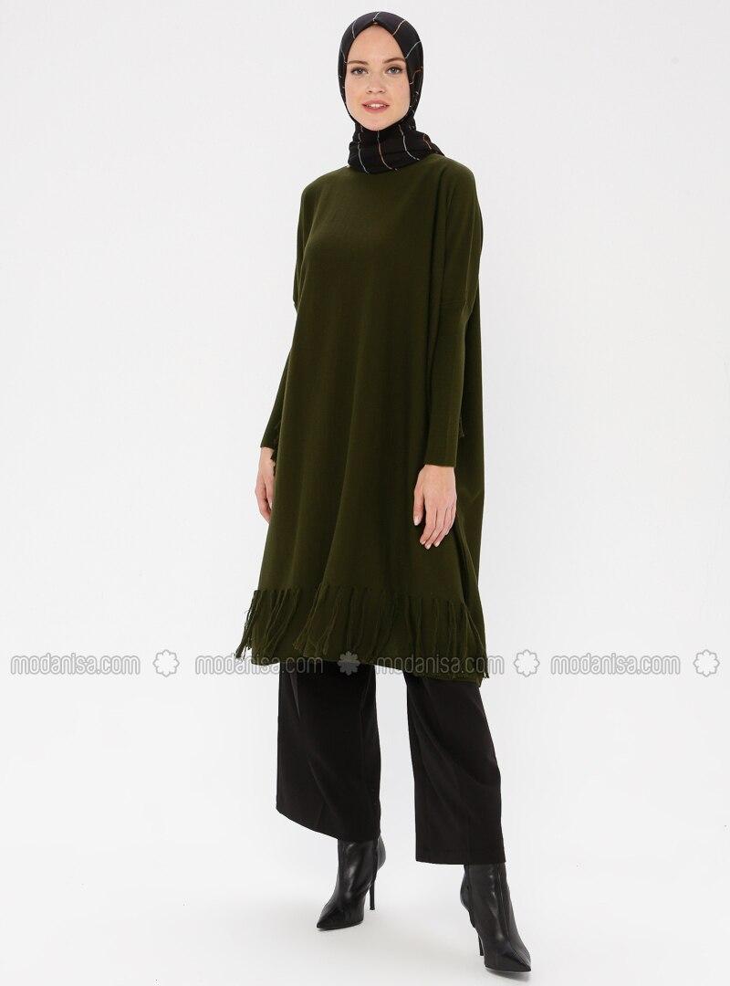 Khaki - Crew neck - Acrylic -  - Knit Tunics