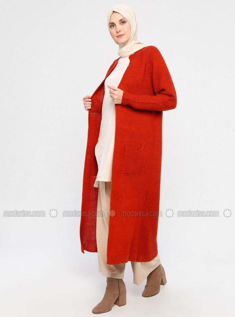 Red - Acrylic -  - Wool Blend - Cardigan