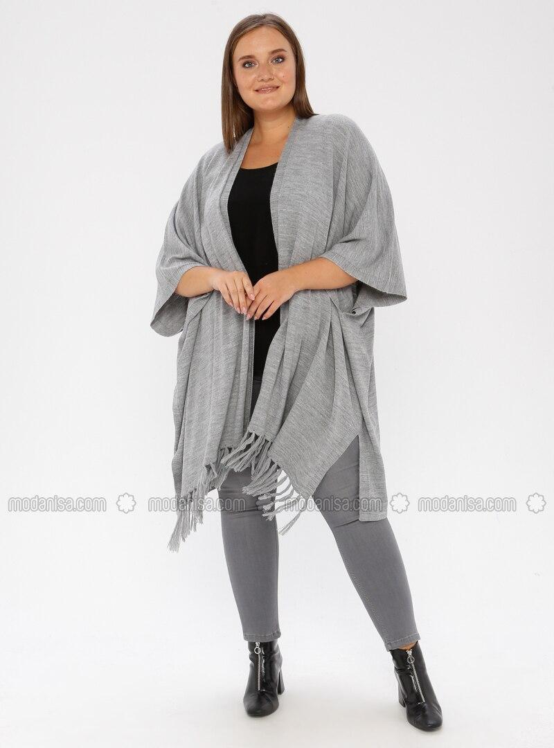 Gray - Acrylic - Plus Size Cardigan