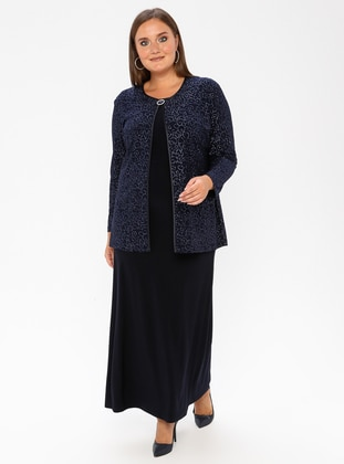 Navy Blue - Multi - Crew neck - Unlined - Plus Size Evening Suit - Arıkan
