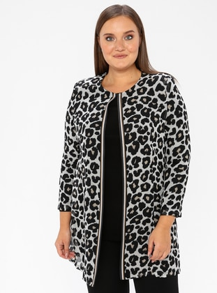 Black - Leopard - Crew neck - Unlined - Plus Size Evening Suit