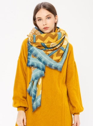 Mustard - Yellow - Printed - Shawl Wrap