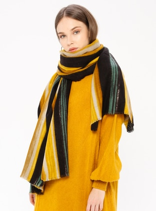 Yellow - Striped - Shawl Wrap
