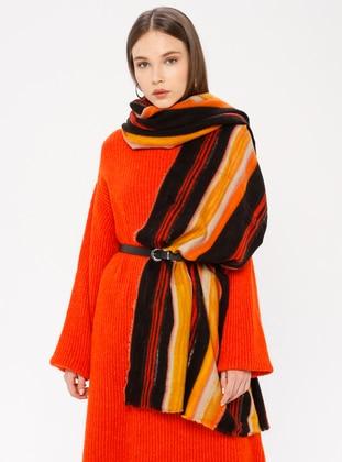 Orange - Striped - Shawl Wrap