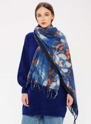 Blue - Floral - Shawl Wrap