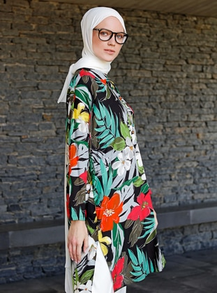 Black - Floral - Point Collar - Viscose - Tunic