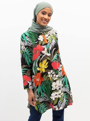 Black - Floral - Point Collar - Viscose - Tunic