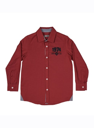 Point Collar -  - Unlined - Maroon - Boys` Shirt