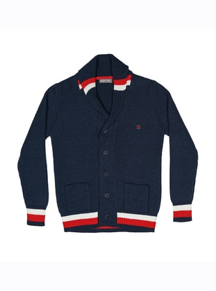 V neck Collar - Acrylic -  - Unlined - Navy Blue - Boys` Cardigan