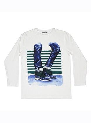 Crew neck - Unlined - Ecru - Boys` Sweatshirt