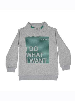 Shawl Collar -  - Unlined - Gray - Boys` Sweatshirt