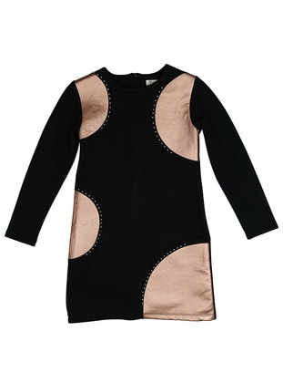 Crew neck - Unlined - Black - Girls` Dress