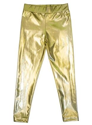 Polyurethane - Unlined - Gold - Girls` Leggings