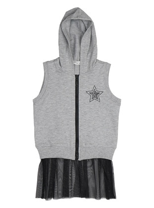 Crew neck -  - Unlined - Gray - Girls` Vest
