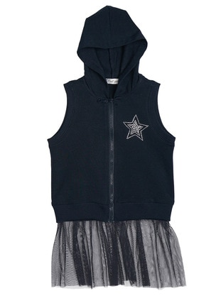 Crew neck -  - Unlined - Navy Blue - Girls` Vest