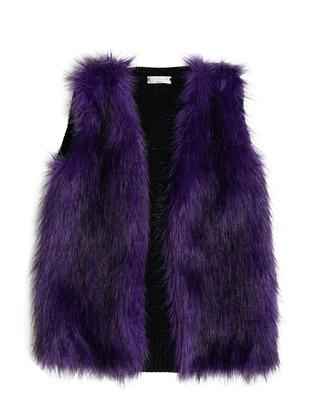 V neck Collar - Acrylic - Wool Blend - Unlined - Purple - Girls` Vest