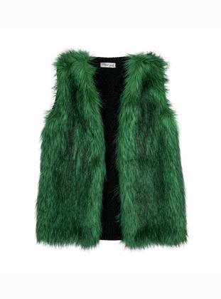 V neck Collar - Acrylic - Wool Blend - Unlined - Green - Girls` Vest