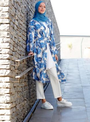 Blue - Multi - Unlined - Shawl Collar - Viscose - Topcoat