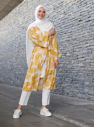 Yellow - Multi - Unlined - Shawl Collar - Viscose - Topcoat