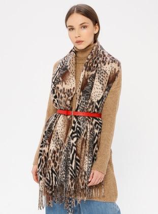 Beige - Leopard - Shawl Wrap
