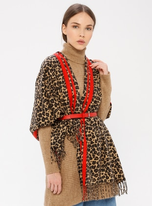 Red - Leopard - Shawl Wrap