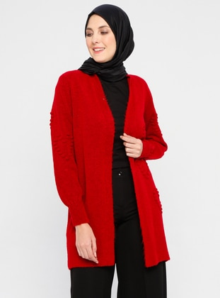 Red - Acrylic -  - Wool Blend - Cardigan