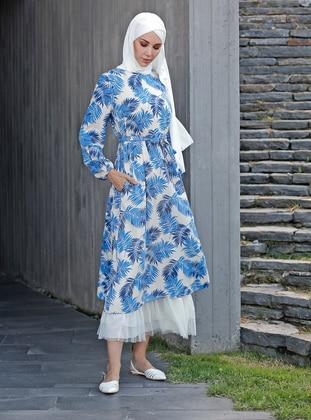 Blue - Multi - Unlined - Viscose - Dress