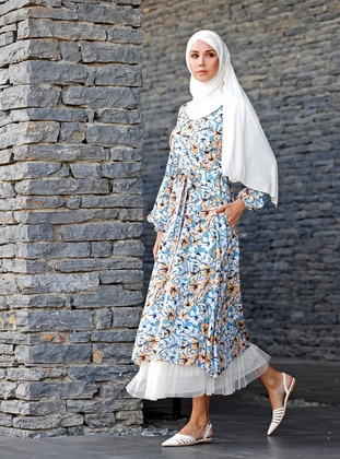 Blue - Floral - Unlined - Viscose - Dress