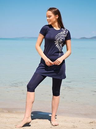 Navy Blue - Half Covered Switsuits -  Mayo