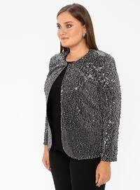 Silver tone - Multi - Crew neck - Unlined - Plus Size Evening Suit