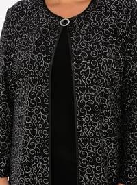 Silver tone - Black - Multi - Crew neck - Unlined - Plus Size Evening Suit