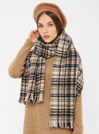 Beige - Striped - Shawl Wrap
