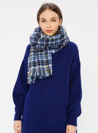 Blue - Striped - Shawl Wrap