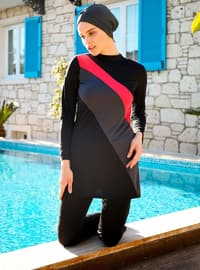 Red - Black - Fully Covered Swimsuits
